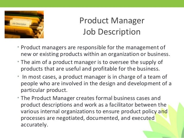 Charming Product Manager Job Description ...