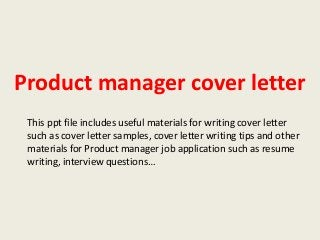 next slideshares - Product Manager Cover Letter
