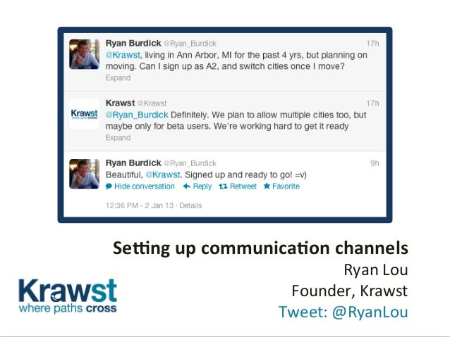 Se#ng	   up	   communica.on	   channels	    Ryan	   Lou	   	    Founder,	   Krawst	   	    	   Tweet:	   @RyanLou