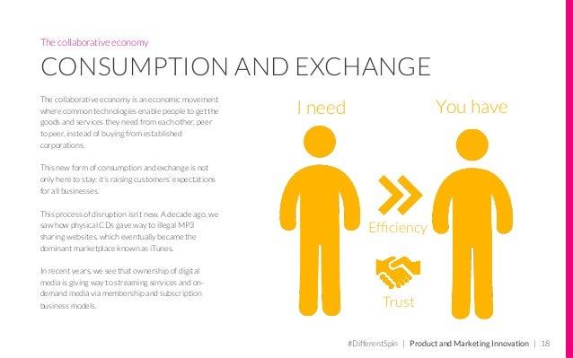 The collaborative economy CONSUMPTION AND EXCHANGE The collaborative economy is an economic movement where common technolo...