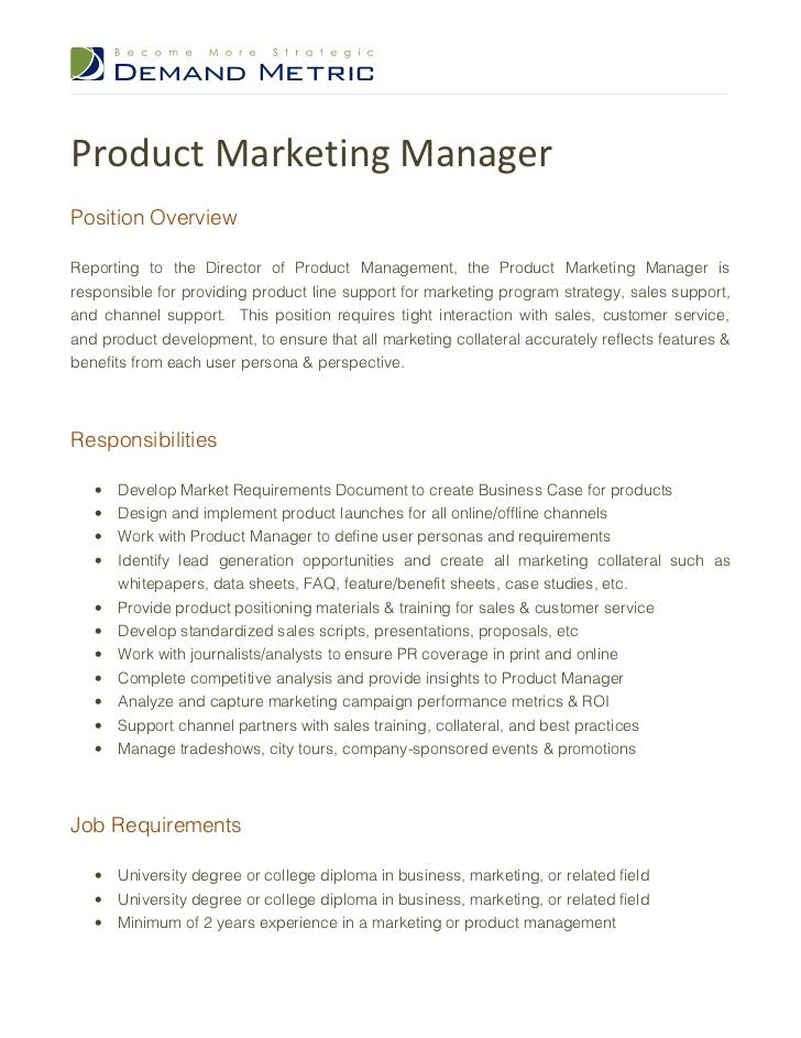 Product Marketing Manager Job Description – Product Manager Job Description