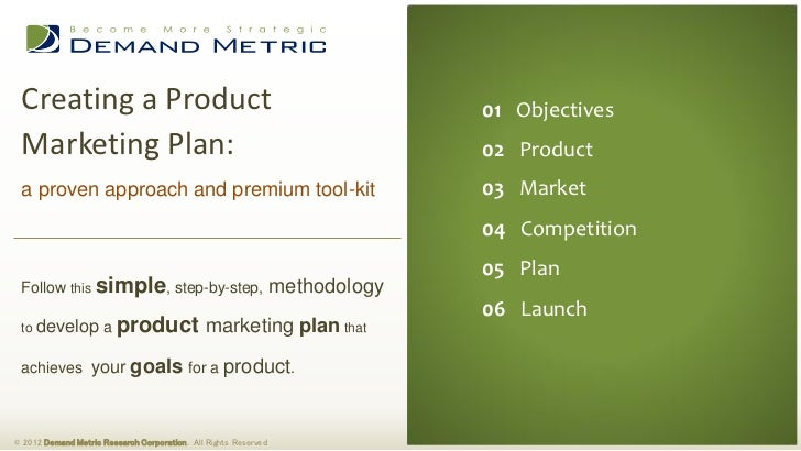 Product Marketing Plan Methodology  ToolKit