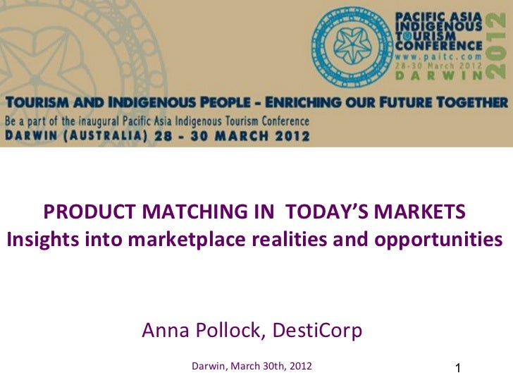 PRODUCT MATCHING IN TODAY'S MARKETSInsights into marketplace realities and opportunities              Anna Pollock, DestiC...