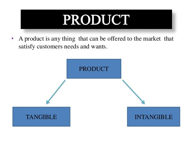 • A product is any thing that can be offered to the market that satisfy customers needs and wants. PRODUCT TANGIBLE INTANG...