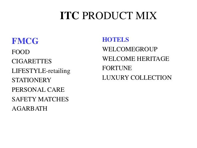 ITC PRODUCT MIX FMCG FOOD CIGARETTES LIFESTYLE-retailing STATIONERY PERSONAL CARE SAFETY MATCHES AGARBATH HOTELS WELCOMEGR...
