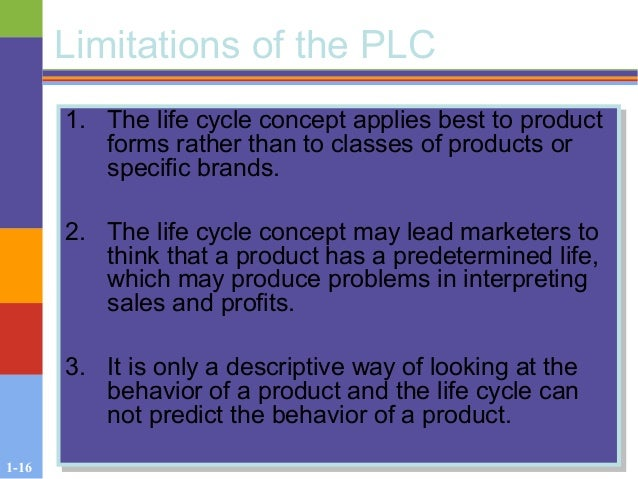 1-16 Limitations of the PLC 1. The life cycle concept applies best to product forms rather than to classes of products or ...