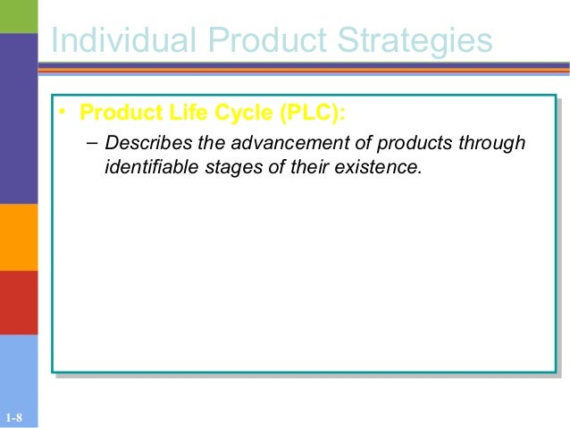 1-8 Individual Product Strategies • Product Life Cycle (PLC): – Describes the advancement of products through identifiable...