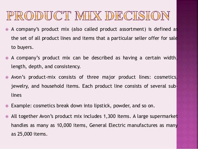 Product mix powerpoint Slide 2