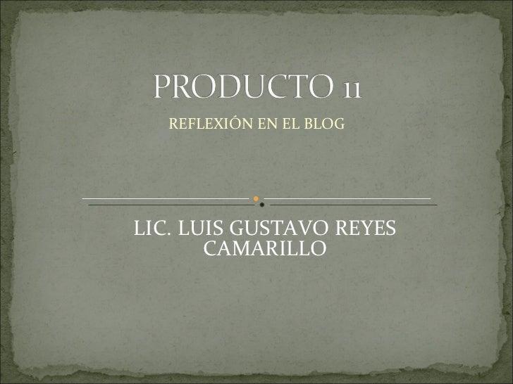 REFLEXIÓN EN EL BLOG LIC. LUIS GUSTAVO REYES CAMARILLO