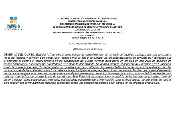 SECRETARIA DE EDUCACIÓN PÚBLICA DEL ESTADO DE PUEBLA                                                      SUBSECRETARIA DE...
