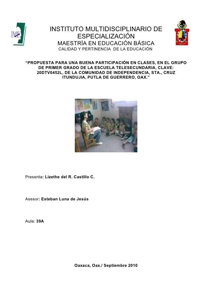 INSTITUTO MULTIDISCIPLINARIO DE                     ESPECIALIZACIÓN                 MAESTRÍA EN EDUCACIÓN BÁSICA          ...