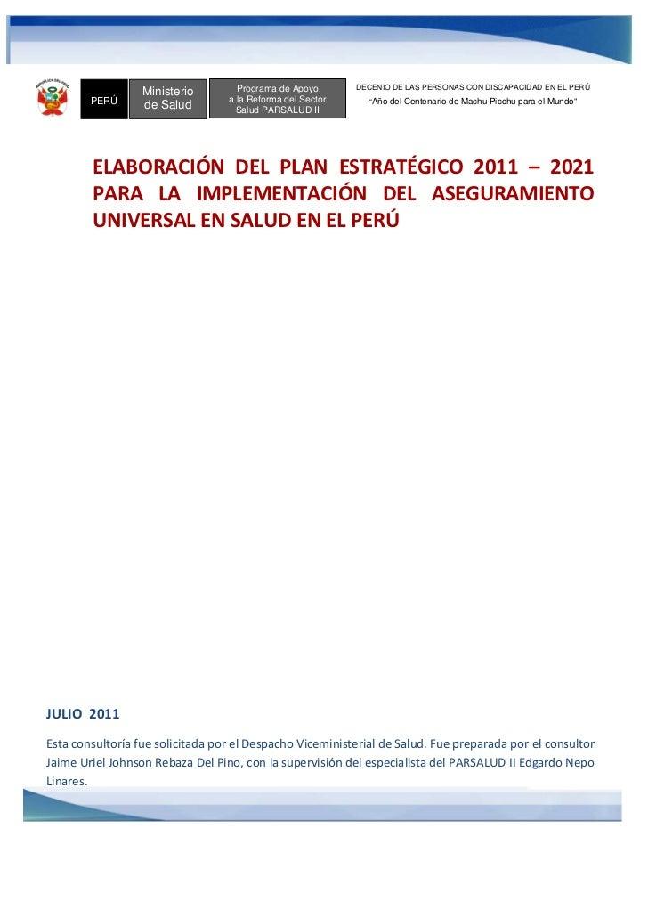 Programa de Apoyo       DECENIO DE LAS PERSONAS CON DISCAPACIDAD EN EL PERÚ                  Ministerio        PERÚ       ...