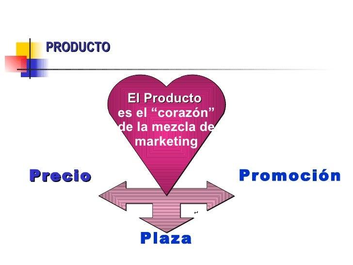 """PRODUCTO             El Producto            es el """"corazón""""            de la mezcla de               marketingPrecio      ..."""