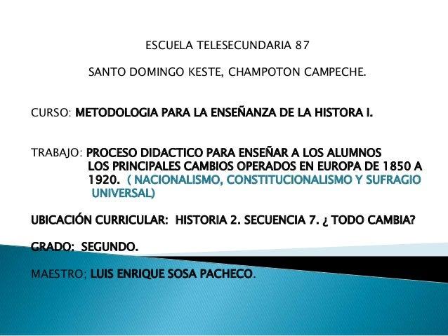 ESCUELA TELESECUNDARIA 87 SANTO DOMINGO KESTE, CHAMPOTON CAMPECHE. CURSO: METODOLOGIA PARA LA ENSEÑANZA DE LA HISTORA I. T...