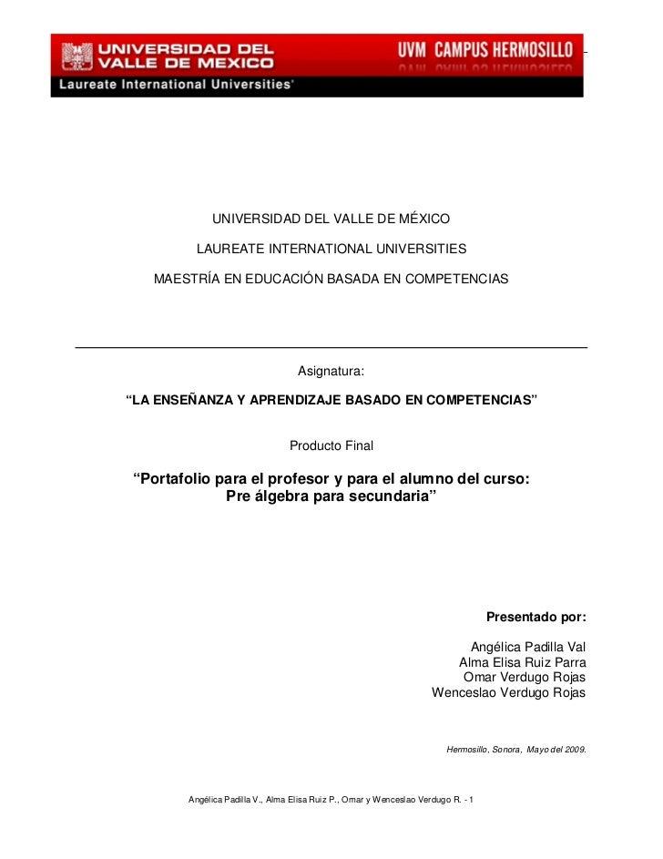 La enseñanza y aprendizaje basado en competencias                          UNIVERSIDAD DEL VALLE DE MÉXICO                ...