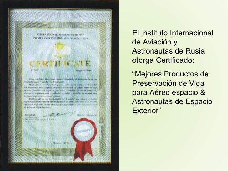 """El Instituto Internacional de Aviación y Astronautas de Rusia otorga Certificado: """" Mejores Productos de Preservación de V..."""