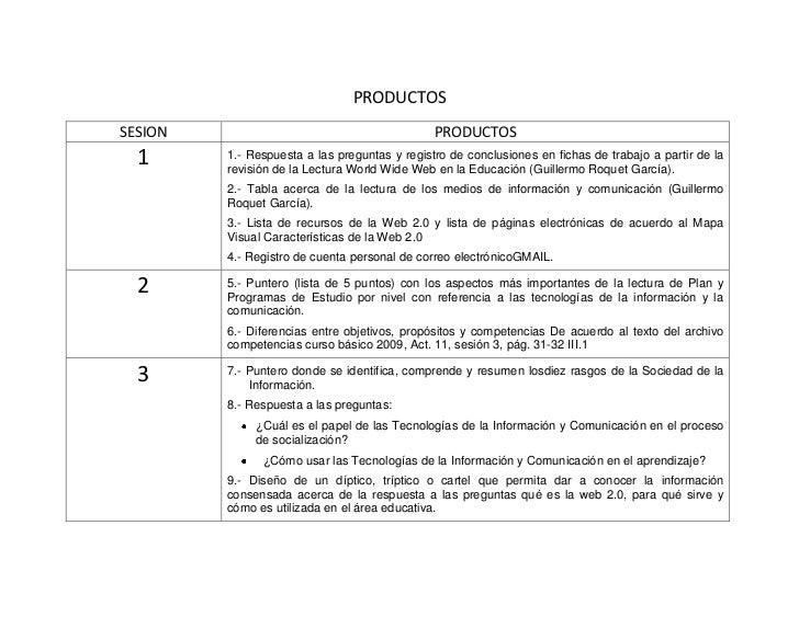 PRODUCTOS<br />SESIONPRODUCTOS11.- Respuesta a las preguntas y registro de conclusiones en fichas de trabajo a partir de l...