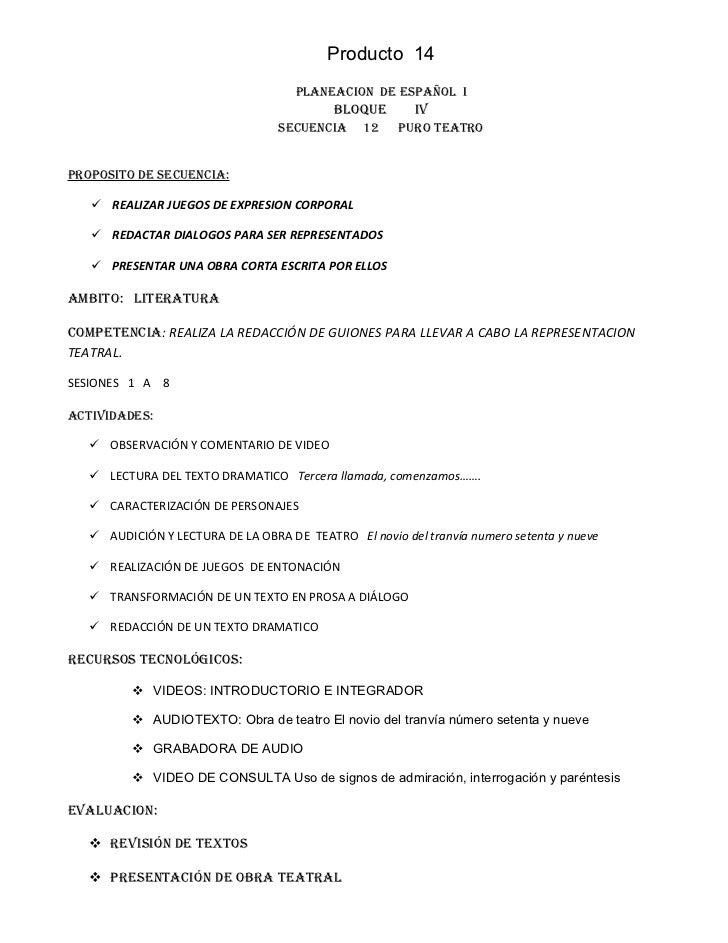 Producto 14                                     PLANEACION DE ESPAÑOL I                                           BLOQUE  ...