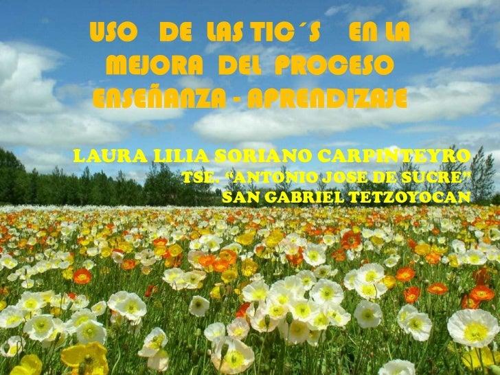 USO   DE  LAS TIC´S    EN LA MEJORA  DEL  PROCESO ENSEÑANZA - APRENDIZAJE<br />    LAURA LILIA SORIANO CARPINTEYRO<br />TS...