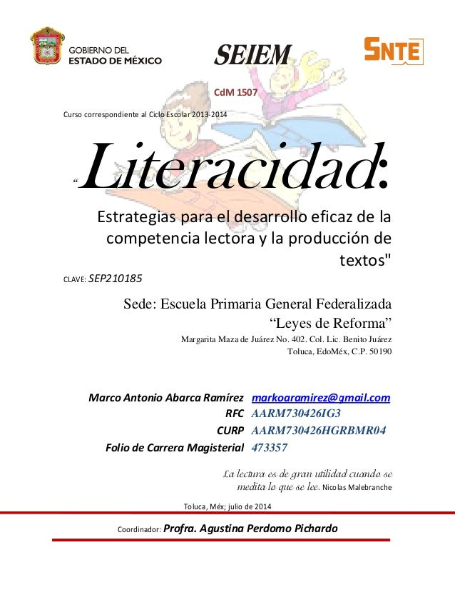 """Curso correspondiente al Ciclo Escolar """"LiteracidadEstrategias para el desarrollo eficaz de la competencia lectora y la pr..."""