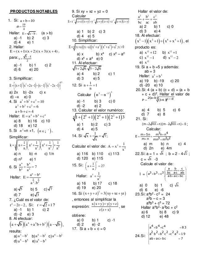 PRODUCTOS NOTABLES 1. Si: a b 10  19 ab 4  Hallar: E a b  . (a > b) a) -1 b) 2 c) 3 d) 4 e) 1 2. Hallar: E (x 1)(x 2)...