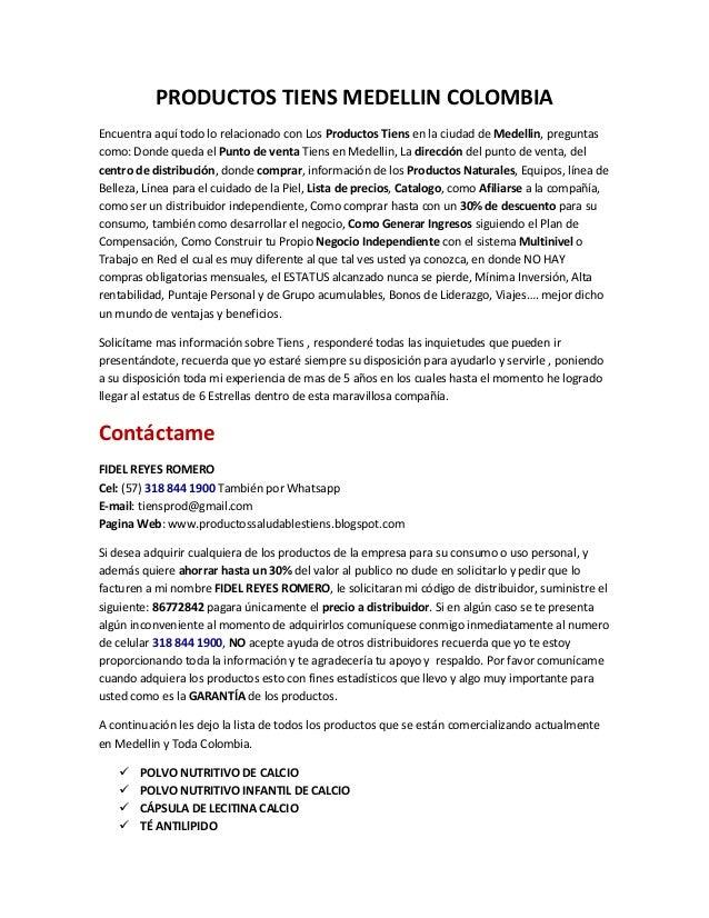PRODUCTOS TIENS MEDELLIN COLOMBIA Encuentra aquí todo lo relacionado con Los Productos Tiens en la ciudad de Medellin, pre...