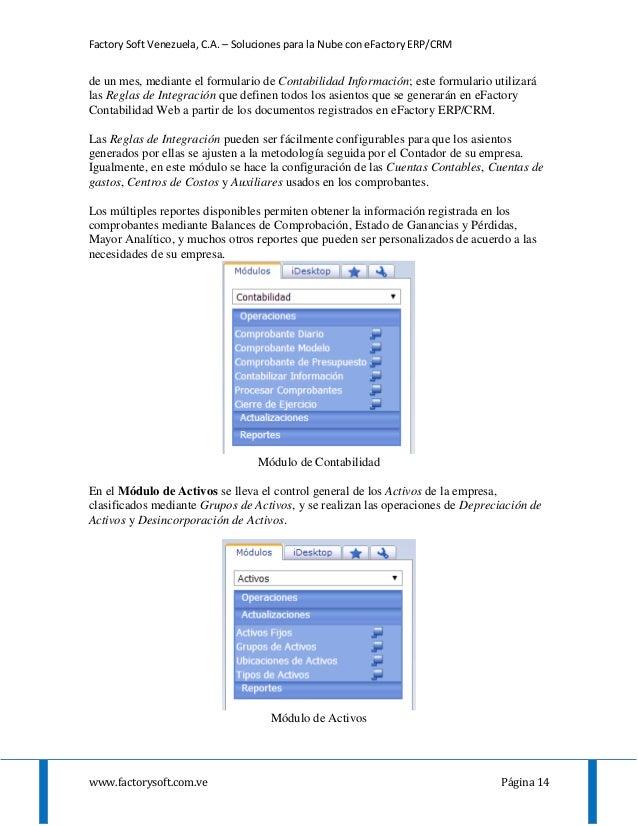 Factory Soft Venezuela, C.A. – Soluciones para la Nube con eFactory ERP/CRM www.factorysoft.com.ve Página 14 de un mes, me...
