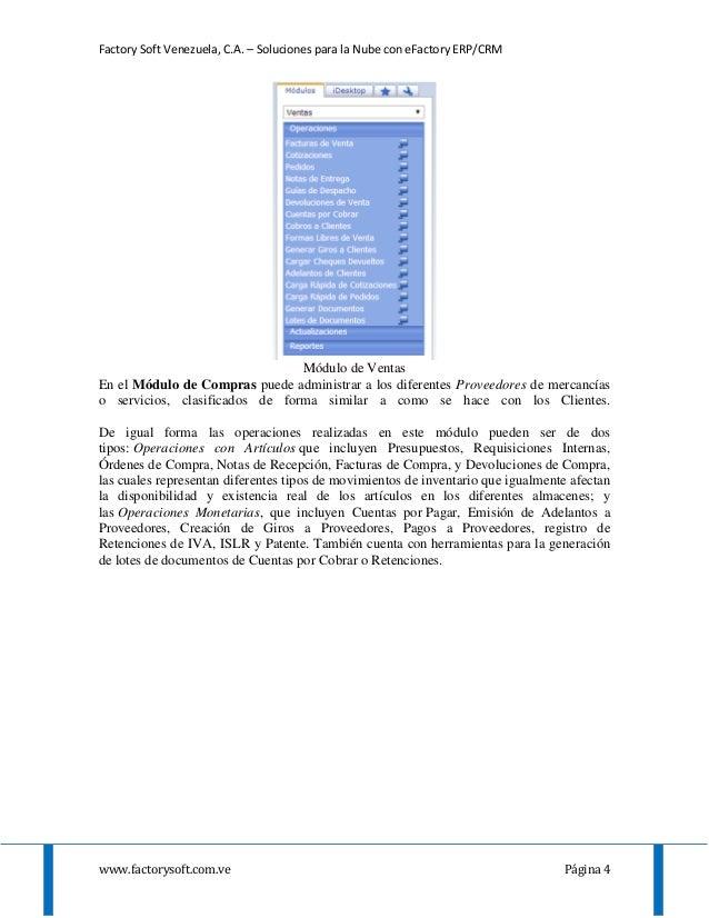 Factory Soft Venezuela, C.A. – Soluciones para la Nube con eFactory ERP/CRM www.factorysoft.com.ve Página 4 Módulo de Vent...