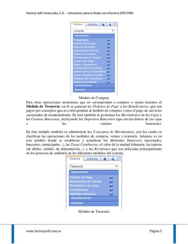 Factory Soft Venezuela, C.A. – Soluciones para la Nube con eFactory ERP/CRM www.factorysoft.com.ve Página 5 Módulo de Comp...