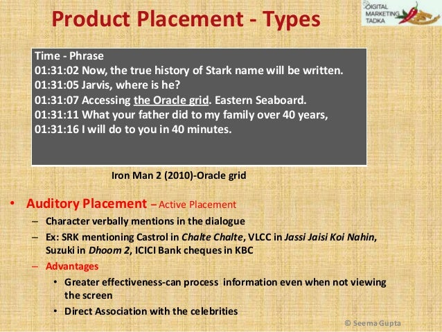 Product Placement - Types Time - Phrase 01:31:02 Now, the true history of Stark name will be written. 01:31:05 Jarvis, whe...