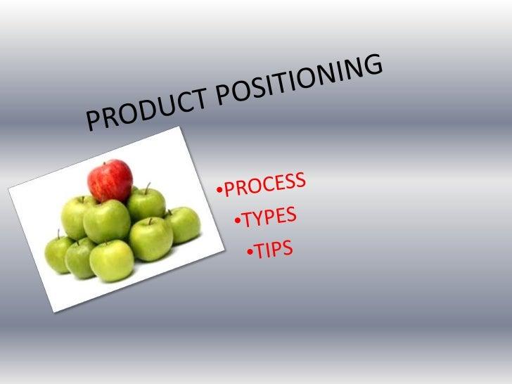 PRODUCT POSITIONING<br /><ul><li>PROCESS