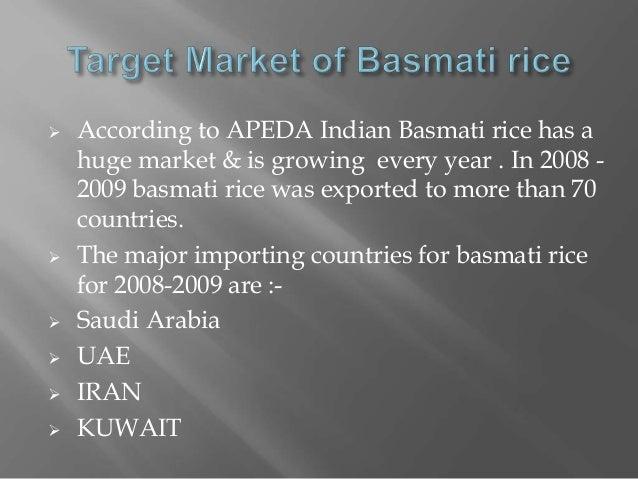 Product presentation basmati rice export