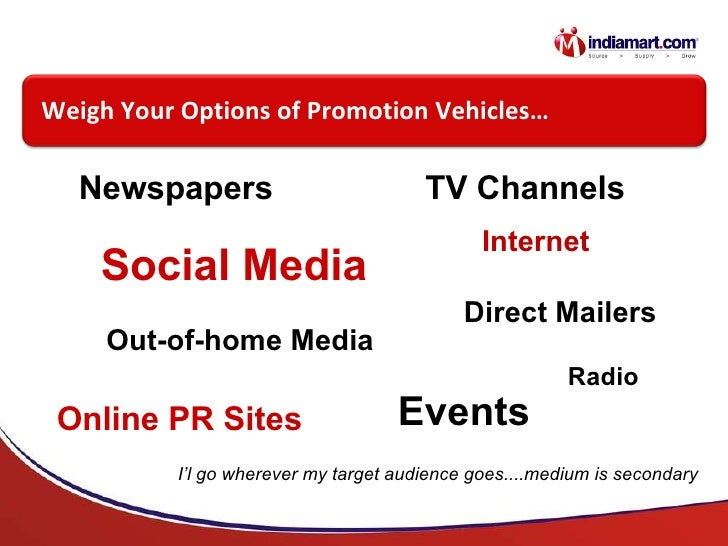 Newspapers TV Channels Social Media Online PR Sites Direct Mailers Events Out-of-home Media Internet Radio Weigh Your Opti...