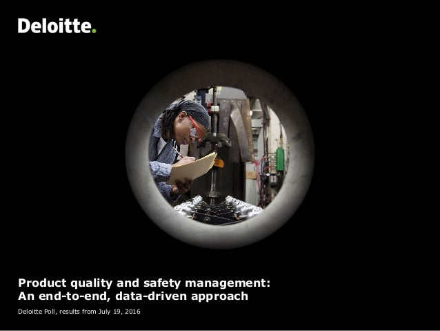 Product quality and safety management: An end-to-end, data-driven approach Deloitte Poll, results from July 19, 2016