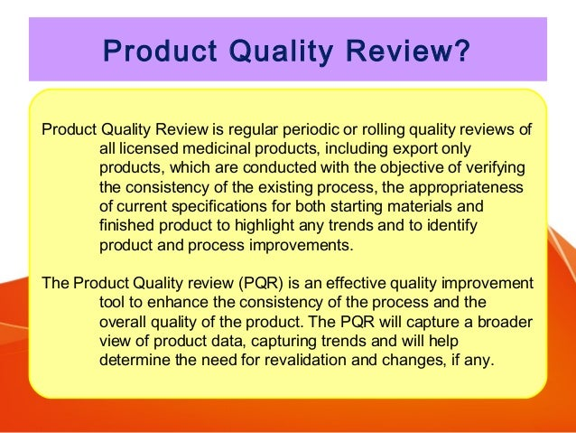 Product Quality Review Pqr