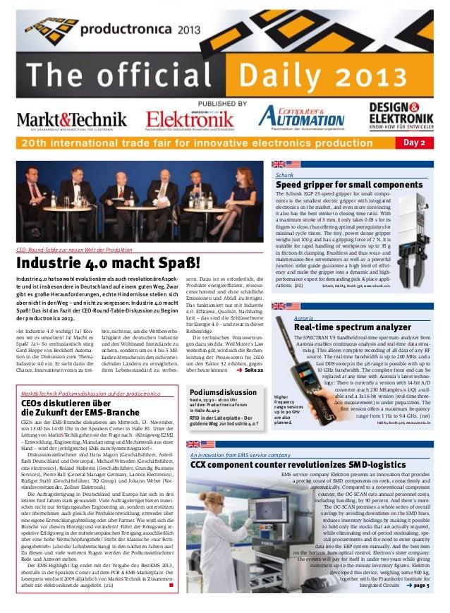 Day 2  Schunk  Speed gripper for small components  CEO-Round-Table zur neuen Welt der Produktion  Industrie 4.0 macht Spaß...