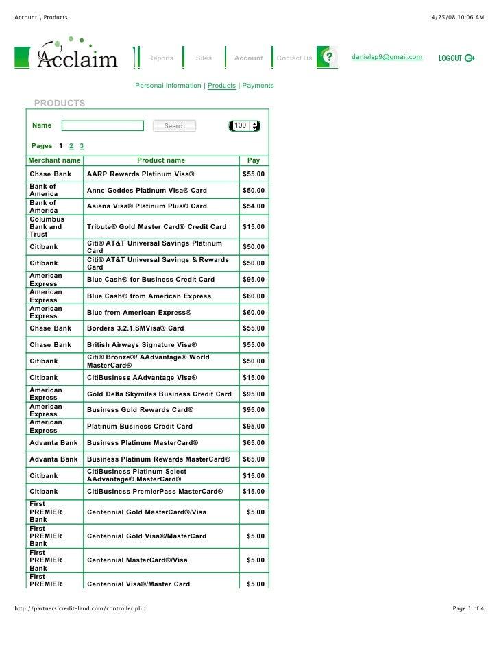 Merchant name                 Product name                  Pay Chase Bank      AARP Rewards Platinum Visa®               ...