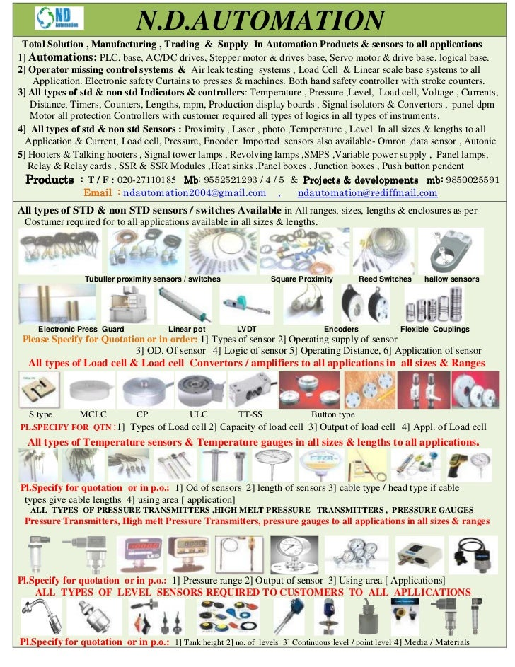 N.D.AUTOMATION Total Solution , Manufacturing , Trading & Supply In Automation Products & sensors to all applications1] Au...
