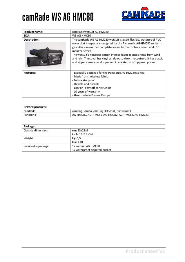 Product sheet V1 28-2-2013 camRade WS AG HMC80 Product name: camRade wetSuit AG HMC80 SKU: WS AG HMC80 Description: The ca...