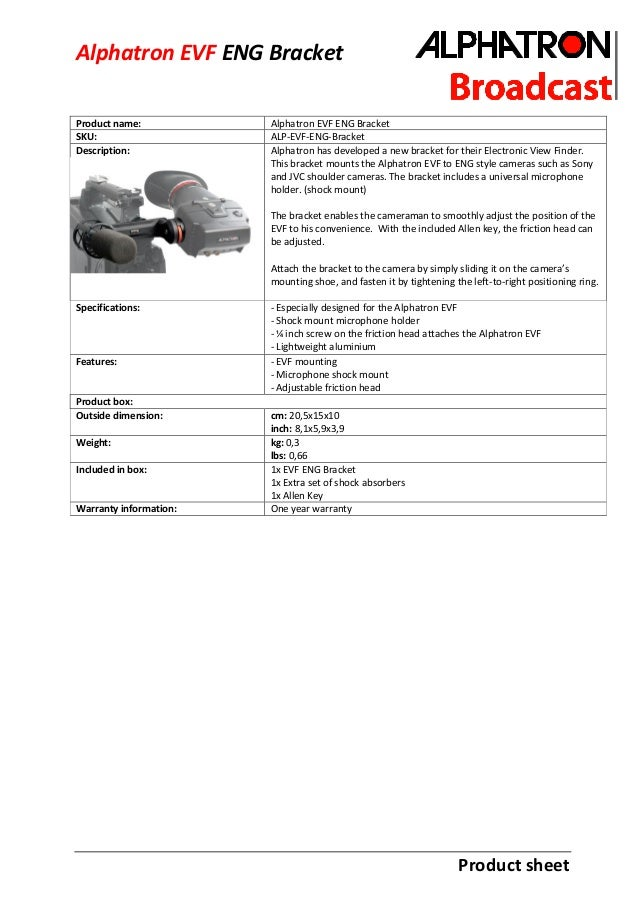 Product sheet Alphatron EVF ENG Bracket Product name: Alphatron EVF ENG Bracket SKU: ALP-EVF-ENG-Bracket Description: Alph...