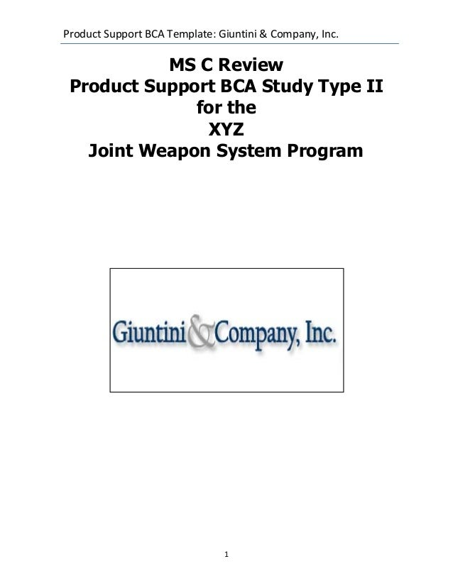 Dod joint weapons system product support business case analysis examp business case analysis example product support bca template giuntini company inc1ms c reviewproduct support bca accmission Images