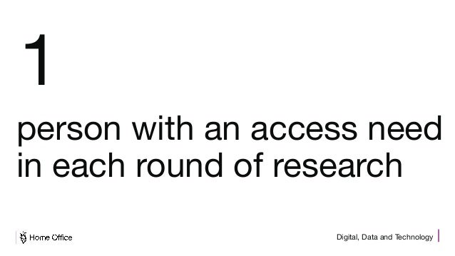 Digital, Data and Technology 1 person with an access need in each round of research