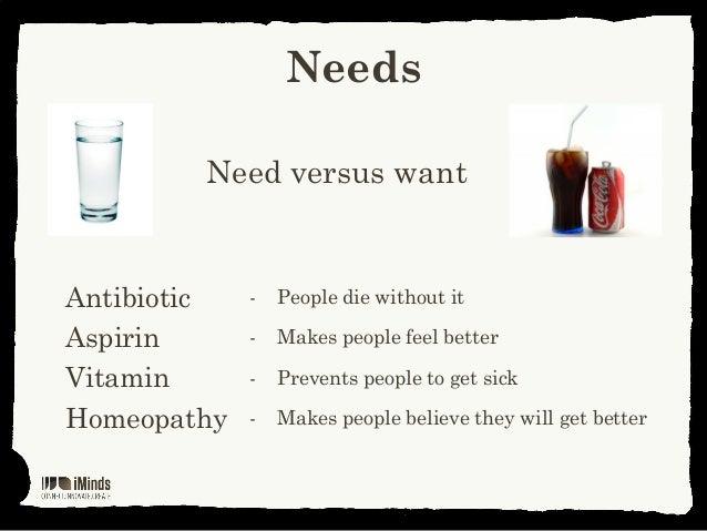 NeedsNeed versus wantAntibiotic - People die without itAspirin - Makes people feel betterVitamin - Prevents people to get ...