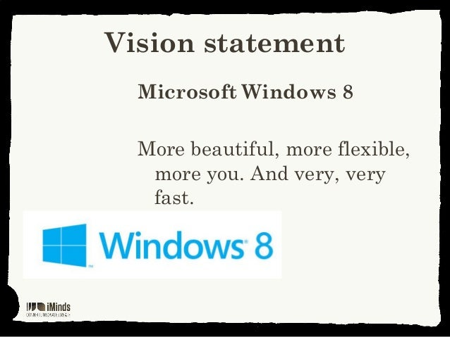 Vision statementMicrosoft Windows 8More beautiful, more flexible,more you. And very, veryfast.
