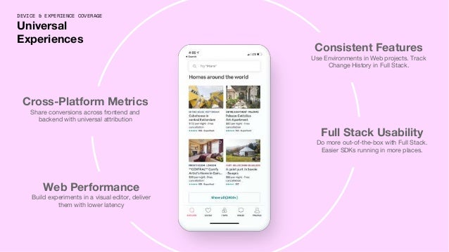 DEVICE & EXPERIENCE COVERAGE Universal Experiences Cross-Platform Metrics Share conversions across frontend and backend wi...