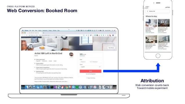 CROSS-PLATFORM METRICS Web Conversion: Booked Room Attribution Web conversion counts back Toward mobile experiment