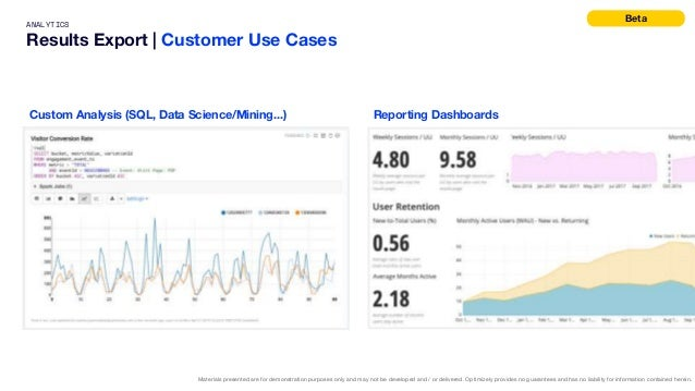 ANALYTICS Results Export   Customer Use Cases Materials presented are for demonstration purposes only and may not be devel...