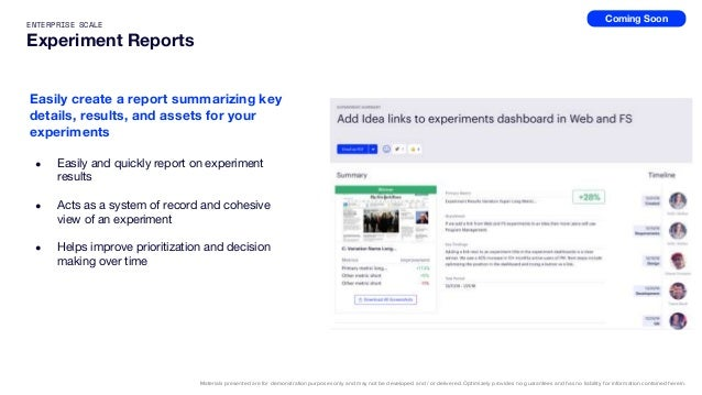 49 Program Reporting Core operational metrics like win rate and velocity across your teams. Experiment Reports Shareable s...