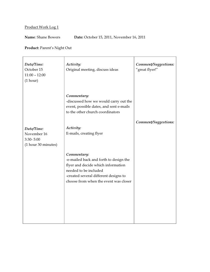 Product Work Log 1Name: Shane Bowers            Date: October 15, 2011, November 16, 2011Product: Parent's Night OutDate/T...