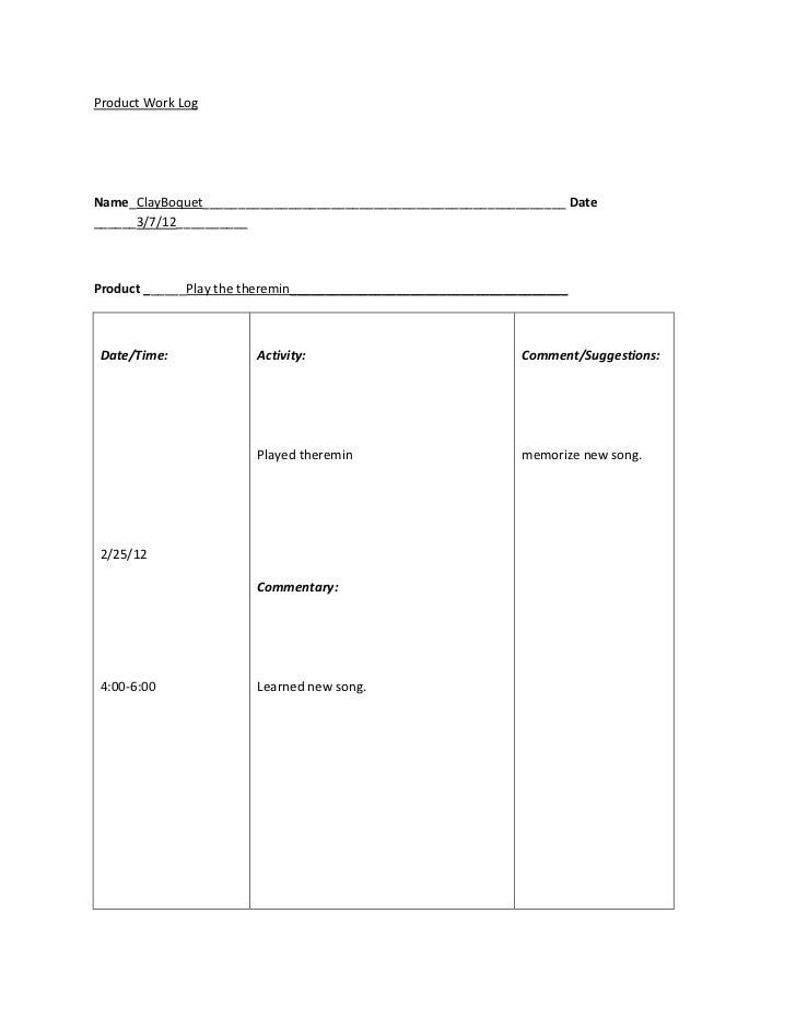 Product work log template 2011 12-1 revised